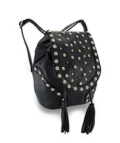 Rhinestone Studded Cinch Backpack Purse w/Tassel and Convertible Strap, Black Size One Size