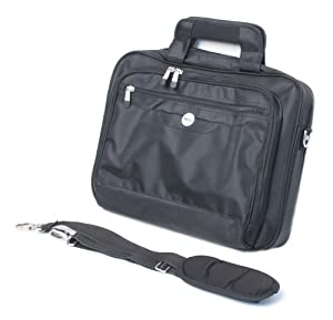 "Genuine Dell RG392 Black Deluxe Durable Nylon Notebook Carrying Case Tote Satchel Computer Briefcase With Protective Plush Inner Lining To Keep Laptop/Notebook From Scratches & Padded Comfortable Adjustable Removable Shoulder Strap, Fits ANY Laptop/Notebook With Up To A 15.4"" Screen Monitor, Max Laptop/Notebook Size: 13.5"" x 10.5""x 3"", Compatible Dell Part Numbers: MF875, NG869"