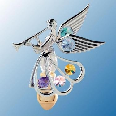Chrome Angel with Trumpet Night Light - Multicolored Swarovski Crystal - 1
