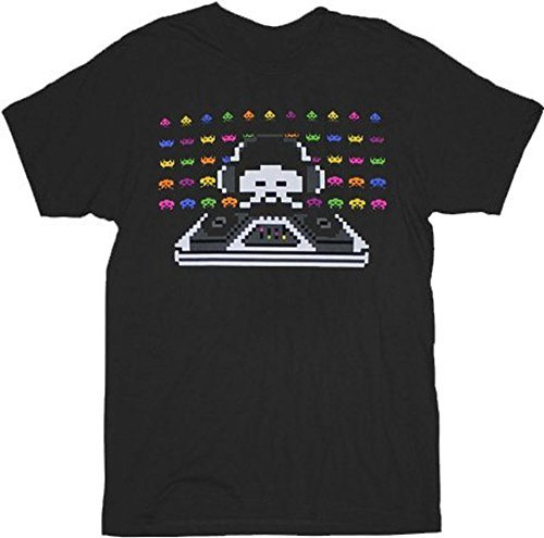 Space Invaders Cosmic Dj Black Adult T-Shirt (Adult Small)