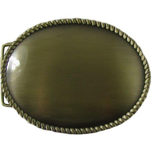 Large Plain Antique Brass Oval Weastern Belt Buckle