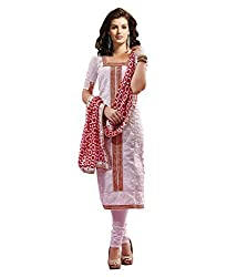 IndiWeaves Women's White Embroidered Pure Georgette Unstitched Party wear Churidaar Dress Material