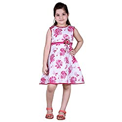 NAVEENS Pink Cotton Party wear Round Neck Dress for Girls