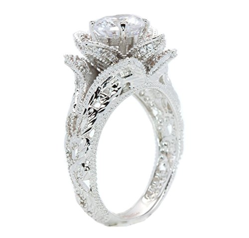Hand Carved Vintage Inspired Blooming Rose Flower CZ Cubic Zirconia Engagement Ring Size 7.5 (Filigree Engagement Ring compare prices)