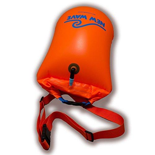 New Wave Swim Boje für Open Water Schwimmer und Triathleten - Licht und Visible Float zur sicheren Training und Rennen (Orange PVC Mittel 20L)