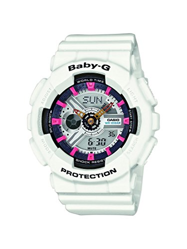 Reloj cuarzo Casio Para Mujer Con  Gris Analogico- digital Y Blanco Resina BA-110SN-7AER