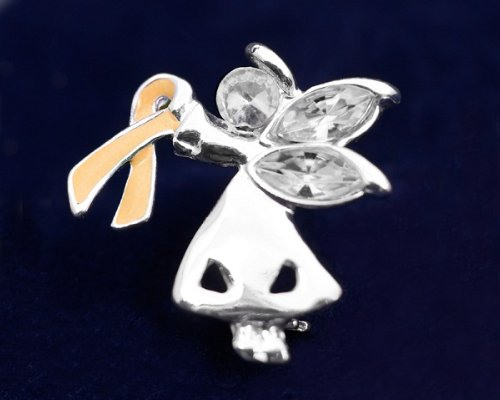 Peach Ribbon Pin-Angel By My Side (27 Pins)