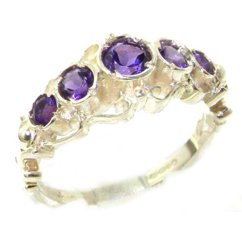 Solid Sterling Silver Genuine Natural Amethyst Ring of English Georgian Design - Size 12 - Finger Sizes 5 to 12 Available - Suitable as an Anniversary ring, Engagement ring, Eternity ring, or Promise ring