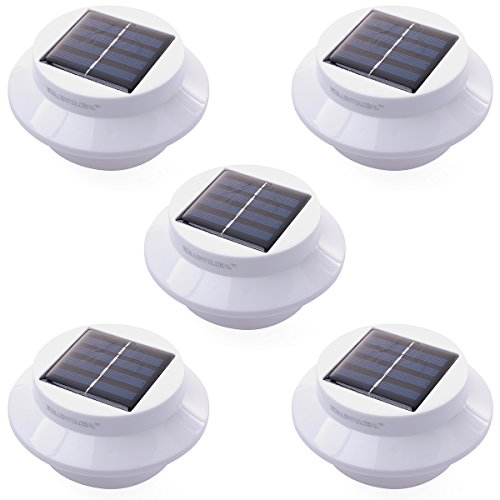 5 Pack 3 Led Solar Powered Energy Saving Fence Gutter Light Outdoor Garden Wall Lobby Pathway Lamp