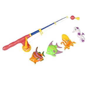 Orange blue plastic fishing rod 4 fish toy set for for Fishing rods for kids