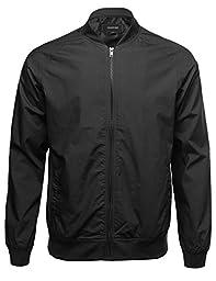 Classic Basic Style Zip Up Bomber Jacket Black Size L
