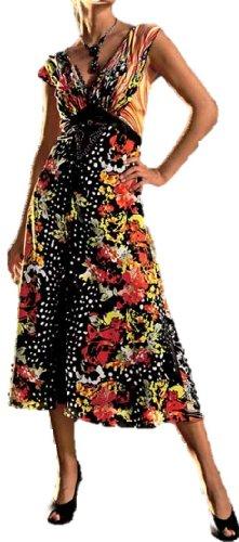 Heine Satin-Kleid Damen-Kleid mit Spitze schwarz-bunt Gr. 42