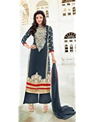 Fabfiza Grey Georgette Embroidered Semi-Stitched Straight Suit