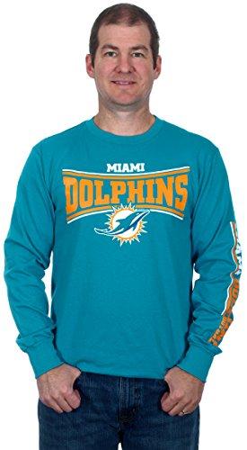 Miami Dolphins Men's Long Sleeve Cotton T-Shirt (Large) (Reggie Bush Miami Dolphins compare prices)