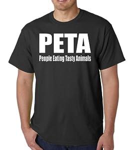 PETA People Eating Tasty Animals Funny Adult Black T-Shirt Tee