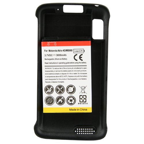 NazTech 3000mAh Extended Battery (With XT Battery Door for Motorola Atrix)