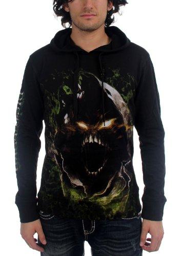 Disturbed Mens Gian Face-Felpa con cappuccio, colore: nero nero Small