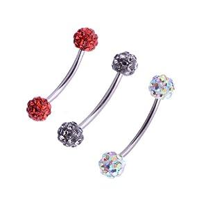 Kadima Body Piercing Jewelry Swarovski CZ Bling Rhinestone Unisex Ball Lot of 3 16G 3/8
