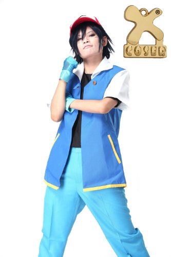 Pokemon Ash Ketchum Jacket Shirt Gloves Cosplay Costume Royal Blue Suit for Adult