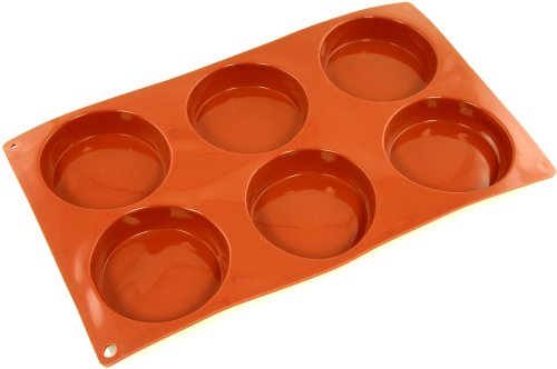 World Cuisine Non-Stick Silicone Mold, 6 Small Cakes, Plain