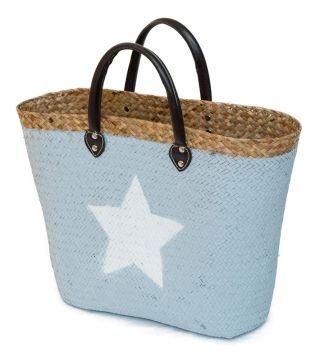 Strohtasche-grau-mit-weiem-Stern-Einkaufstasche-Strandkorb-Strandtasche-Bag-Shopper