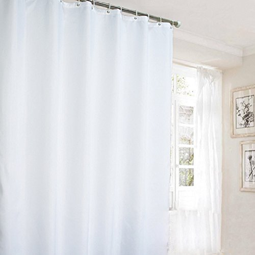 Ufaitheart Hotel Shower Curtain Long Curtains Pure White, Polyester Fabric Extra Long Shower Curtain 72 x 96 Inch (Shower Curtain Liner 72 X 96 compare prices)