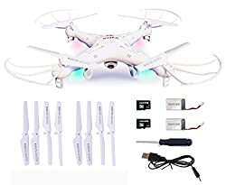 Syma X5C Combo Bundle 4 Channel 2.4GHz RC Explorers Quad Copter w/ Camera (White with extra set of rotors, battery, and micro[...]