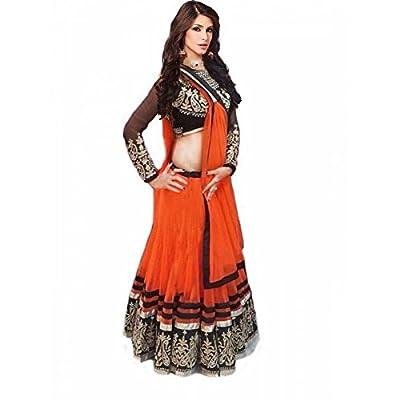 Janasya Women's Net Lehenga Choli (HS-LEN-003.A_Free Size_Orange)