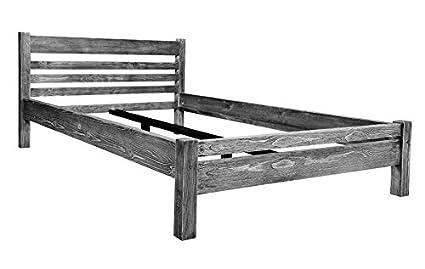 Bett Doppelbett RETRO 160 x 200 Kiefer massiv weiß-schwarz geburstet