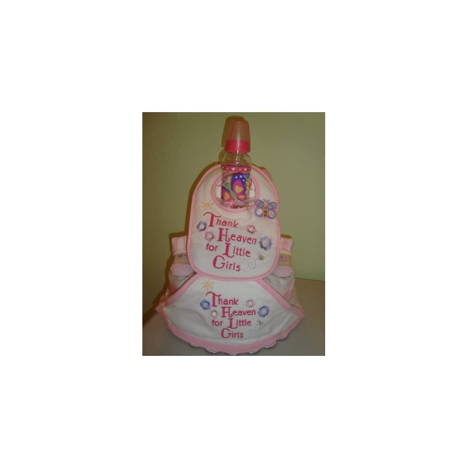 Thank Heaven for Little Girls Flowers and Butterflies 3 Layer Diaper Cake (Decorated All Around)   Comes Decoratively Wrapped Making it a Great Gift or Shower Centerpiece   Other Gift Options Also Available