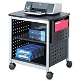 Safco Products 1856BL Scoot Desk Side Printer Machine Stand, Black/Silver