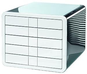 HAN 1551-33 Schubladenbox iBox, 5 geschlossene Schübe für Formate bis C4, schwarz/weiß