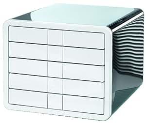 HAN 1551-33 Schubladenbox i-Box, DIN A4/C4, 5 geschlossene Schubladen, schwarz-weiß