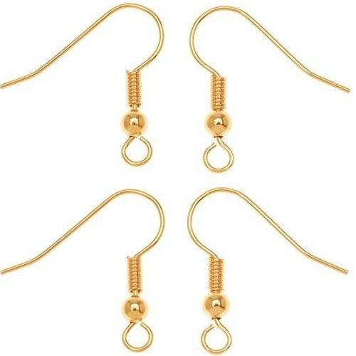 200 paia di auricolari ganci placcati oro, 18 x 46 mm, (Creative-Perline per creare gioielli, con ciondoli Fashion Jewelry Accessories Jewellery Findings-1s J58)