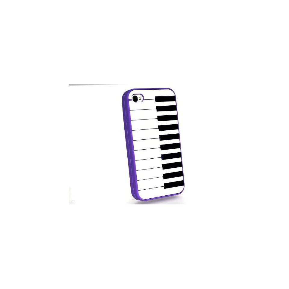Purple Piano Keyboard Style Design Soft Silicone Skin Gel Cover Case for Verizon At&t Sprint Apple Iphone 4 4s + Microfiber Bag
