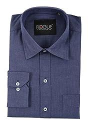 ROGUE URBAN WEAR Men's Formal Shirt (ROGFF02NVYBLU_M, Blue, Medium)
