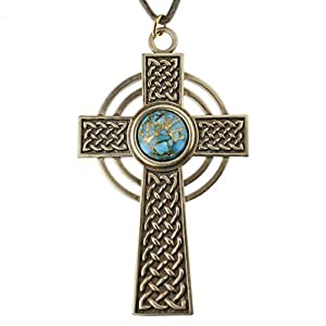Large Celtic Cross with 12mm Persian Blue Copper Turquoise Gemstone on Adjustable Cord