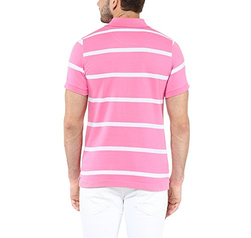 American-Crew-Mens-Polo-Stipres-T-Shirt-Pink-White