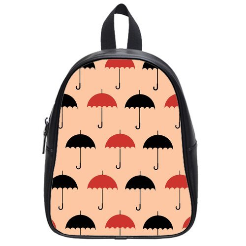 Anhome Cartoon Little Red And Black Umbrella Pink Background Custom School Bag/Backpack front-1044897