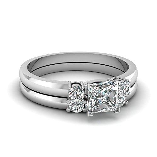 Fascinating Diamonds 1 Ct Princess Cut Very Good Diamond Trinity Wedding Bewitched Lattice Ring Si2 Gia
