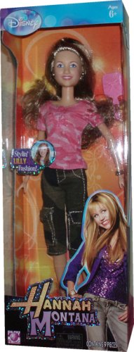 Disney Hannah Montana and Friends 12 Inch Stylin' Fashion Doll - Lilly in Camo Pink Shirt and Camo Green Capri Pants with High Heel Sandals, Bracelet, Pair of Earrings and Hairbrush