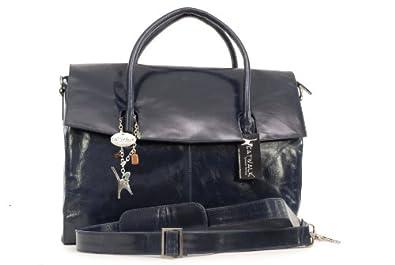 """Übergroße Laptoptasche """"Helena"""" von Catwalk Collection - Marine Blau - GRÖßE: B: 42 H: 31,5 T: 13 cm"""