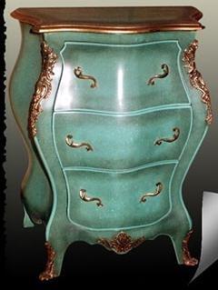 Barroco en el pecho de cajones verde/Turquose estilo envejecido rococó MoCoC07021