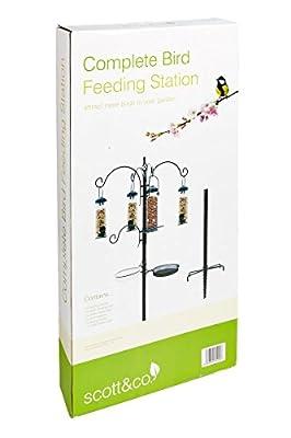 Scott & Co Complete Bird Feeding Station Kit with Feeders - Black