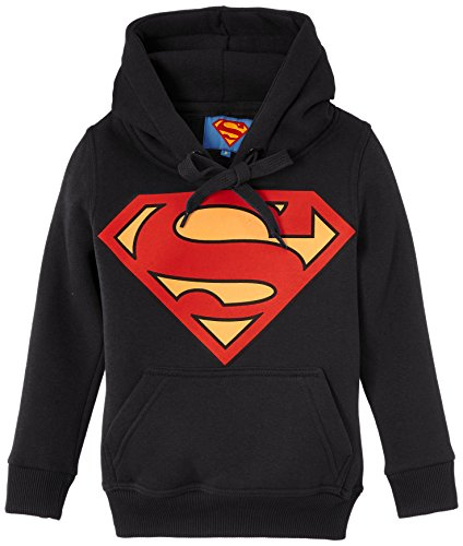 Felpa di Superman con cappuccio, da bambino, nero (nero), FR : 16 anni (Taglia del produttore : 16 anni)