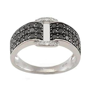 Bague Diamant noir - Or 375 Millièmes (9 Carats): 3.00 Gr - Diamant: 0.89 Carat qualité HSI