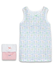 3 Pack Pure Cotton Floral & Spotted Vests