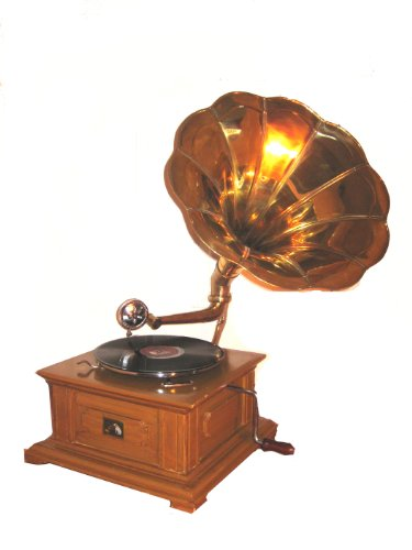 Replica RCA Victor Phonograph Gramophone with Large Gold Brass Horn. Low Price!!