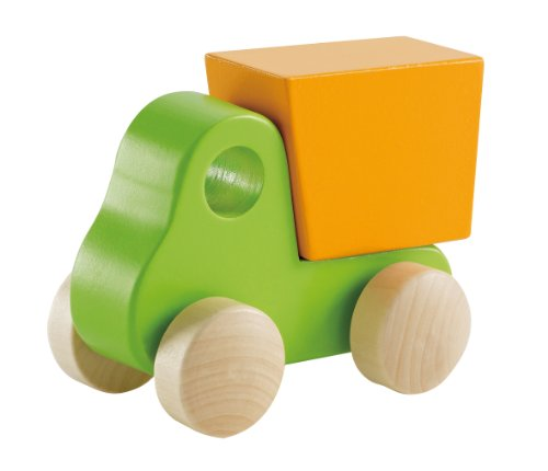 Hape - Little Dump Truck - Solid Maple  in Green - 1