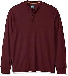 GH Bass Men's Big and Tall Long Sleeve Henley Shirt, Chocolate Truffle Heather, 3X